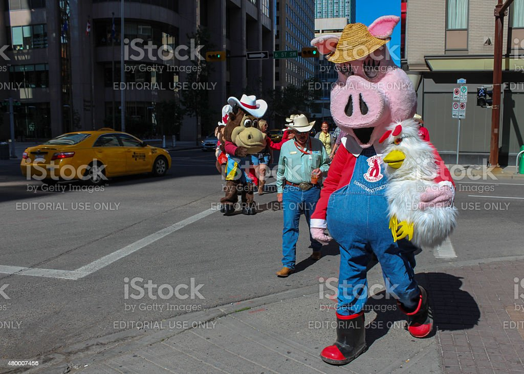 mascots on the street in downtown calgary stock photo