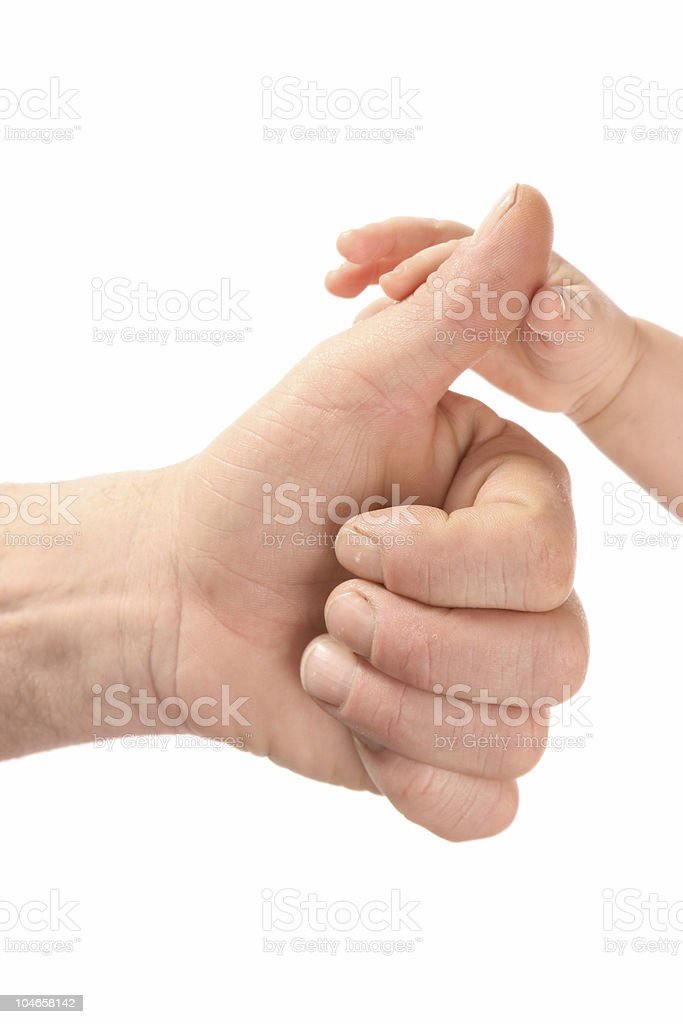 Masculine and child's hand. royalty-free stock photo