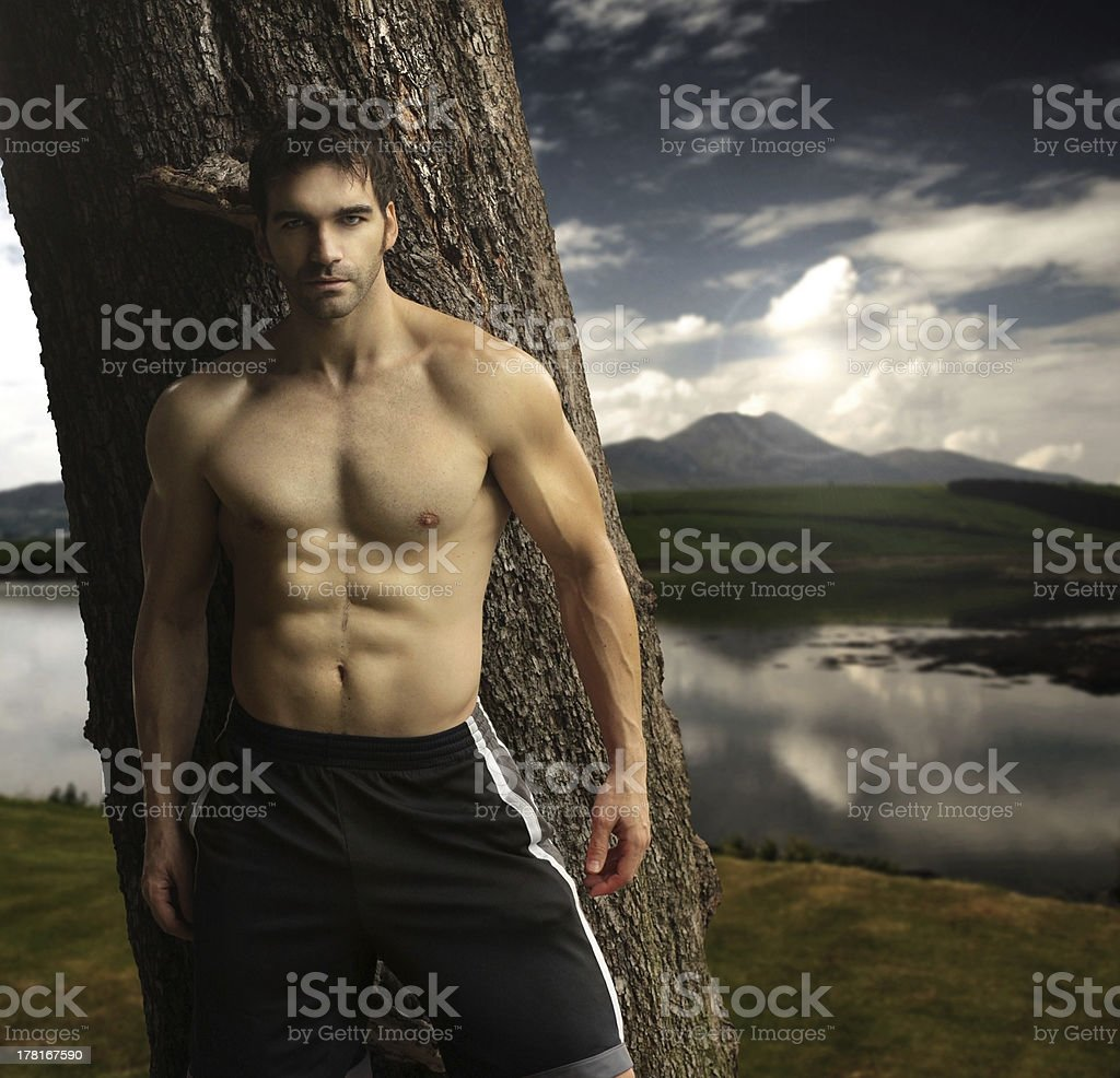 Masculine man outdoors royalty-free stock photo