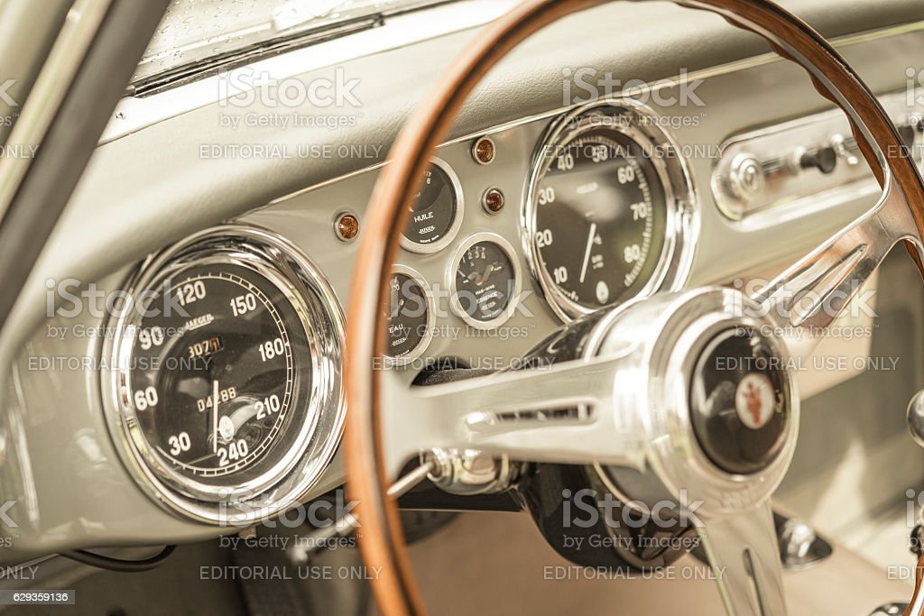 Maserati A6G 2000 coupe by Allemano interior stock photo