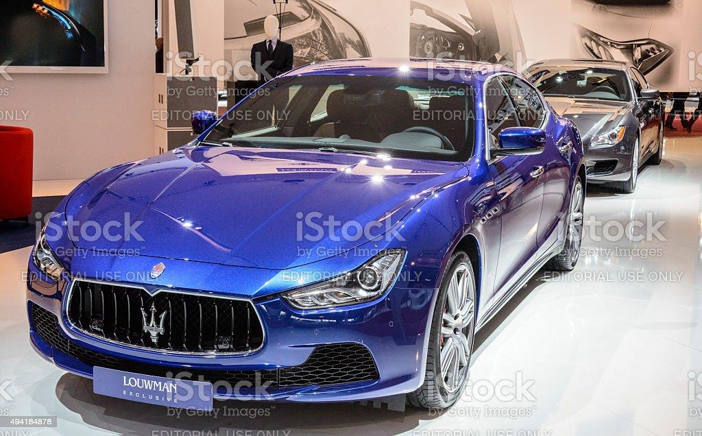 Maserati Ghibli luxury saloon car and Quattroporte sedan stock photo