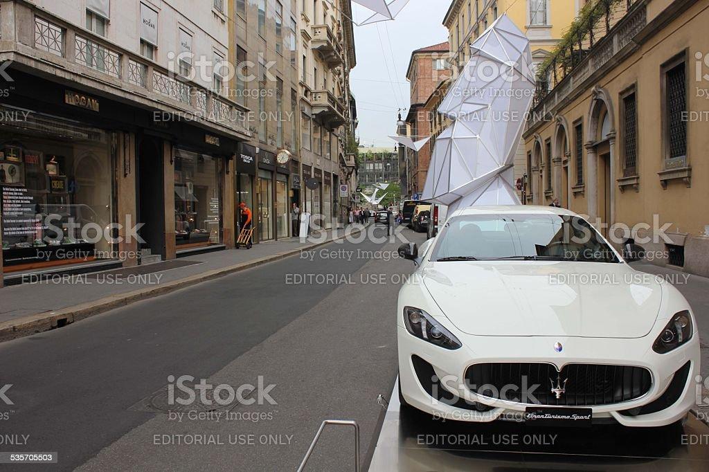Maserati parked in Via Montenapoleone in Milan stock photo
