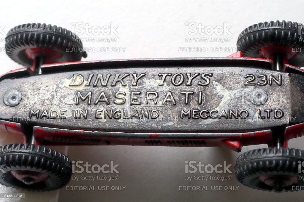 Maserati racing car underside Dinky Toys 23N 1953 stock photo