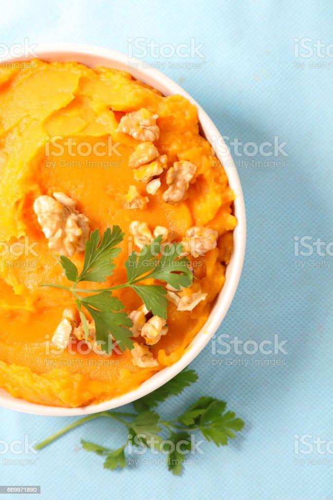 mash sweet potato stock photo