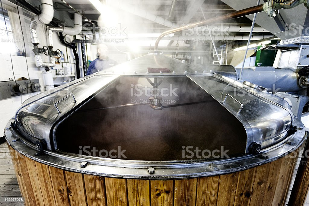 Mash tun and dissolving vat, brewing process stock photo