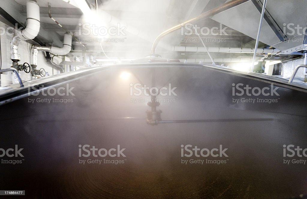 Mash tun and Dissolving vat, interior stock photo