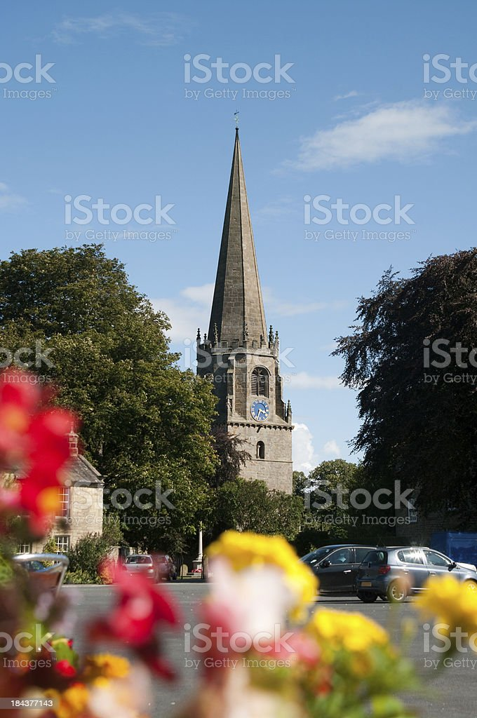 Masham the church of St Mary's viewed from Market Square stock photo