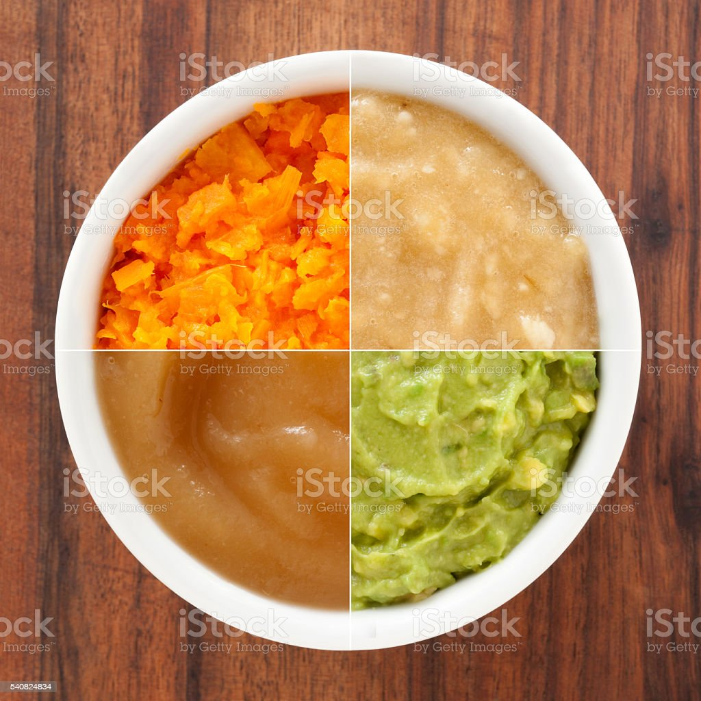 Mashed foods composition stock photo