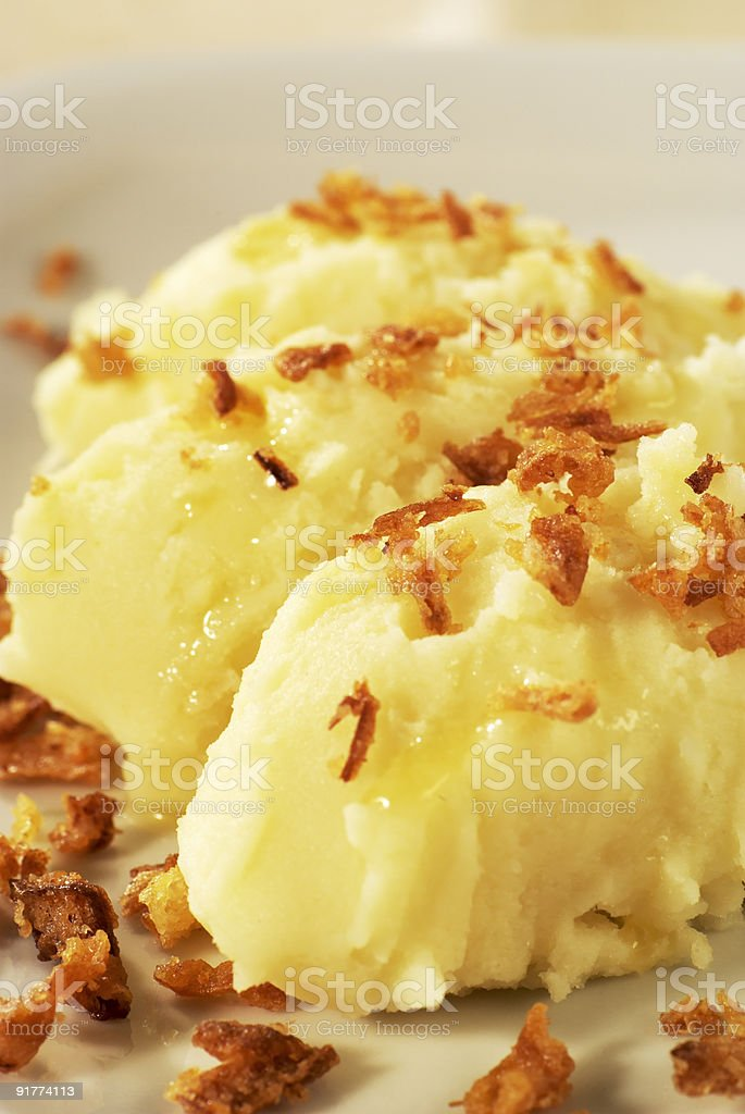 Mashed potato topped with browned onion royalty-free stock photo