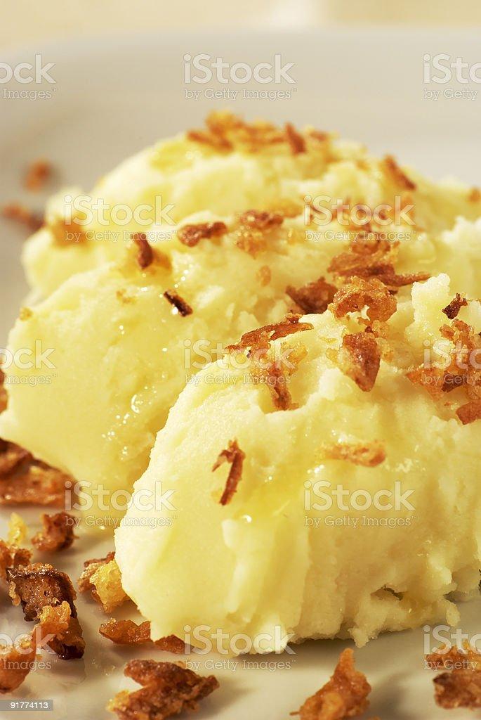 Mashed картофель Top с коричневым лук Стоковые фото Стоковая фотография