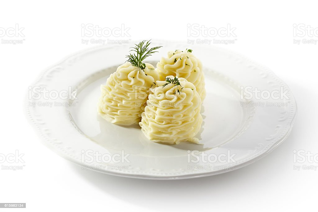 Mashed Potatoes topped with Dill stock photo