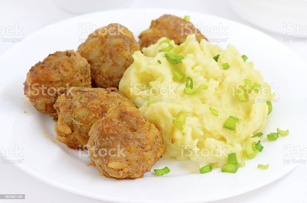 Mashed potatoes with noisettes stock photo