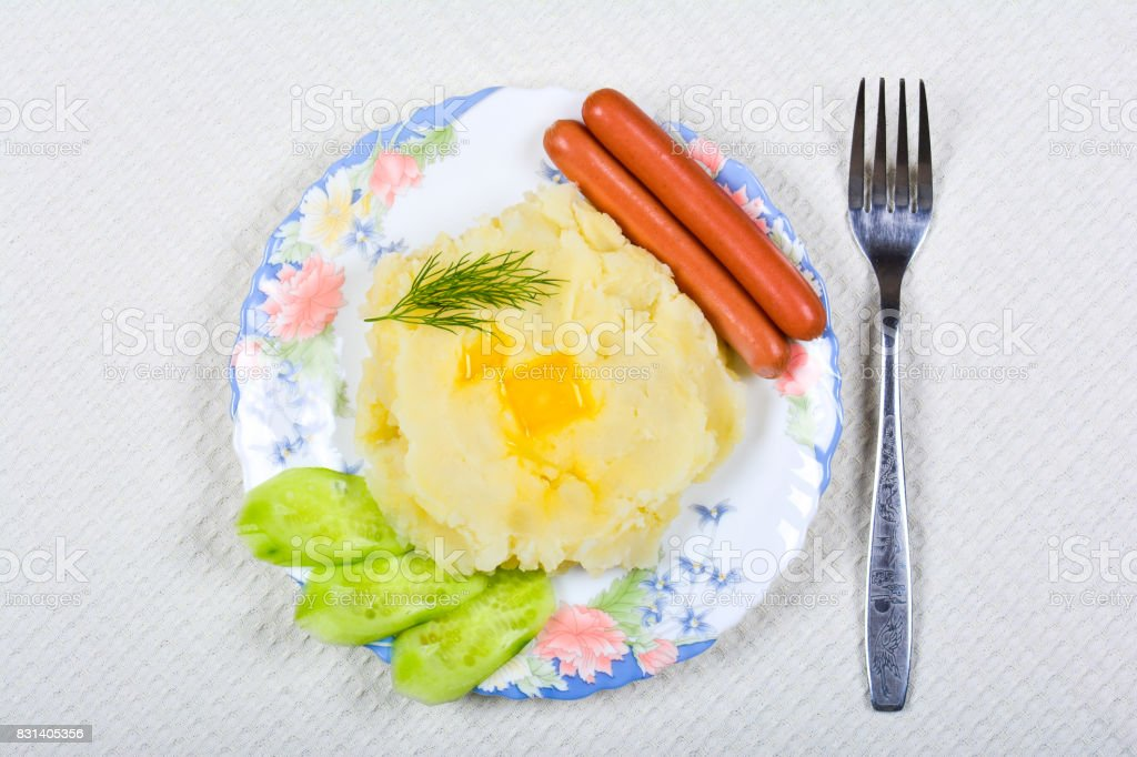 Mashed potatoes with sausages stock photo