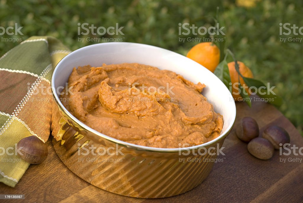 Mashed & Pureed Sweet Potato, Yam Thanksgiving Casserole, Vegetarian Side Dish royalty-free stock photo