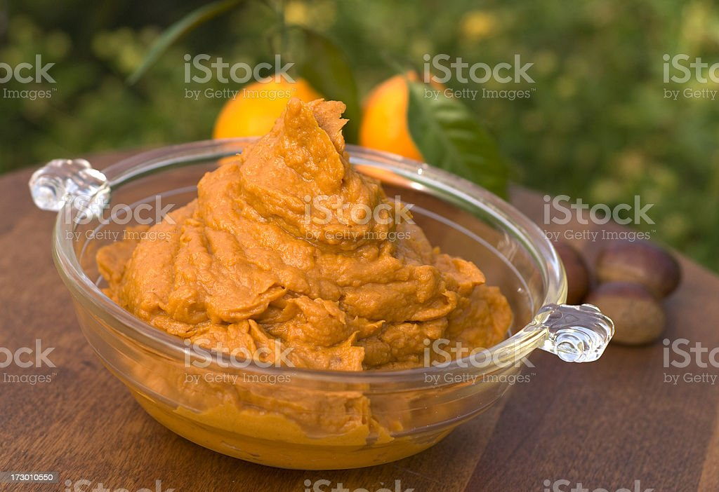 Mashed Sweet Potato, Healthy Vegetarian Yam Vegetable & Thanksgiving Food royalty-free stock photo