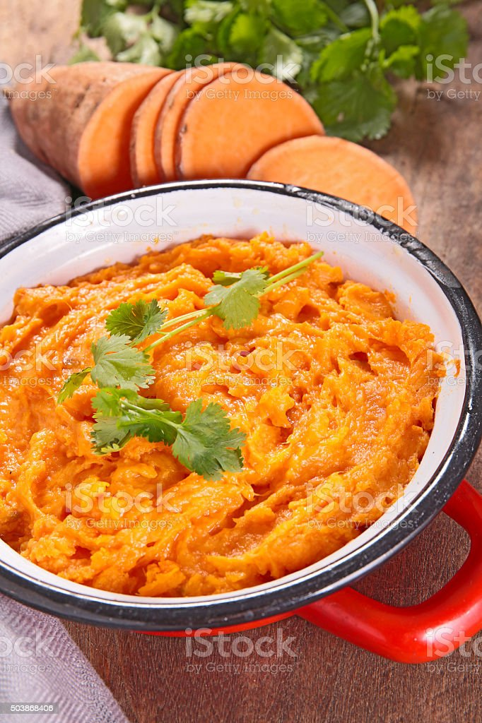 mashed sweet potato stock photo