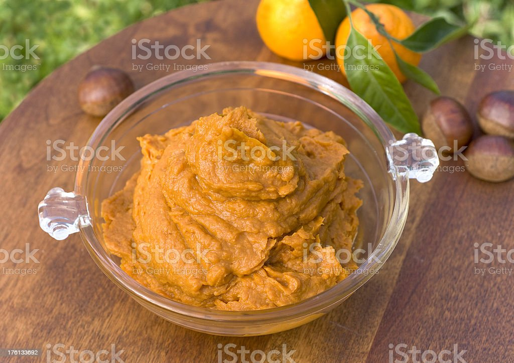 Mashed Sweet Potato, Yam Thanksgiving Casserole a Vegetarian Side Dish stock photo