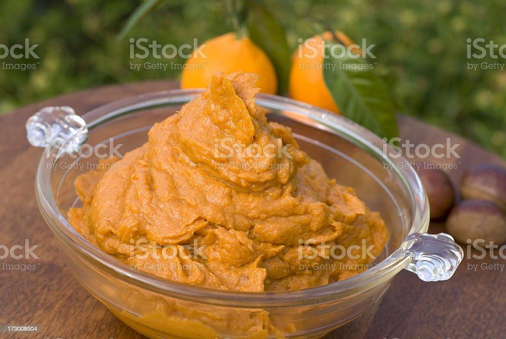 Mashed Sweet Potato, Yam Thanksgiving Casserole: Vegetarian Side Dish Food royalty-free stock photo