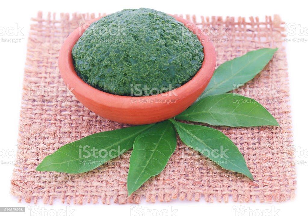 Mashed vitex Negundo or Medicinal Nishinda leaves stock photo