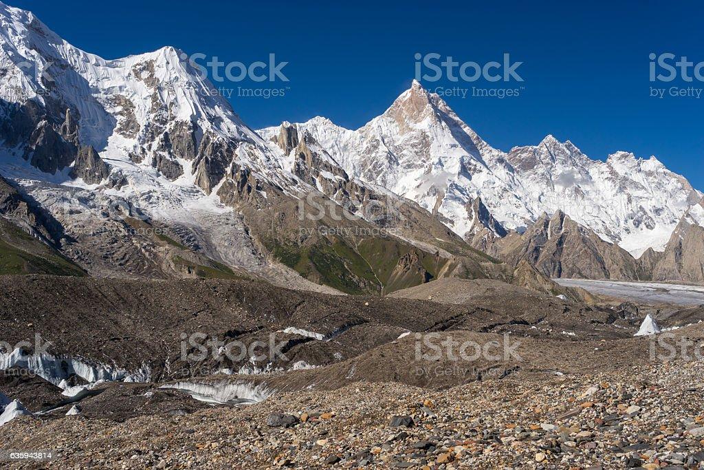 Masherbrum mountain peak at GoroII camp, K2 trek, Pakistan stock photo