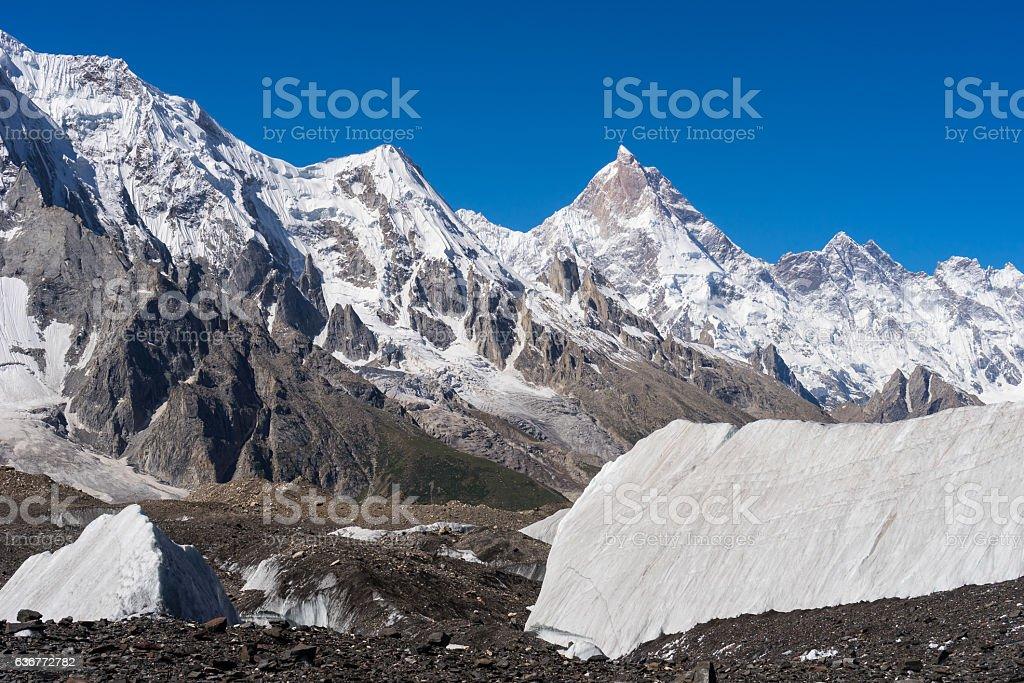 Masherbrum mountain peak behind Baltoro glacier, K2 trek, Gilgit, Pakistan stock photo