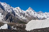 Masherbrum mountain peak behind Baltoro glacier, K2 trek, Gilgit, Pakistan