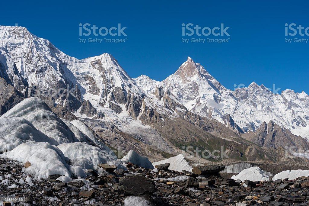 Masherbrum mountain peak with Baltoro glacier, K2 trek stock photo
