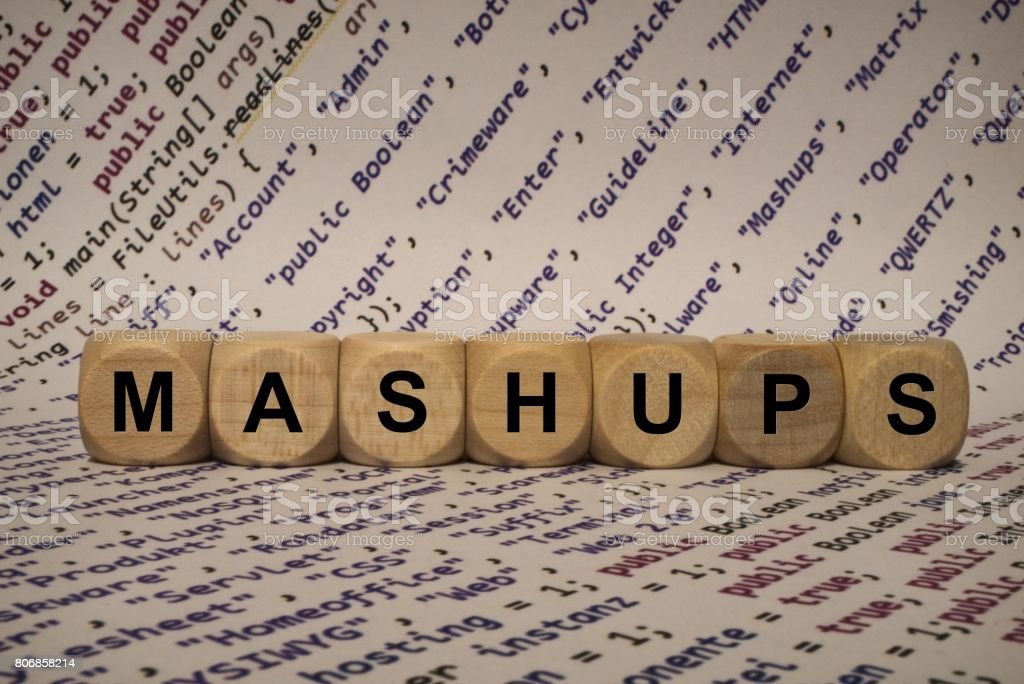 mashups - cube with letters and words from the computer, software, internet categories, wooden cubes stock photo
