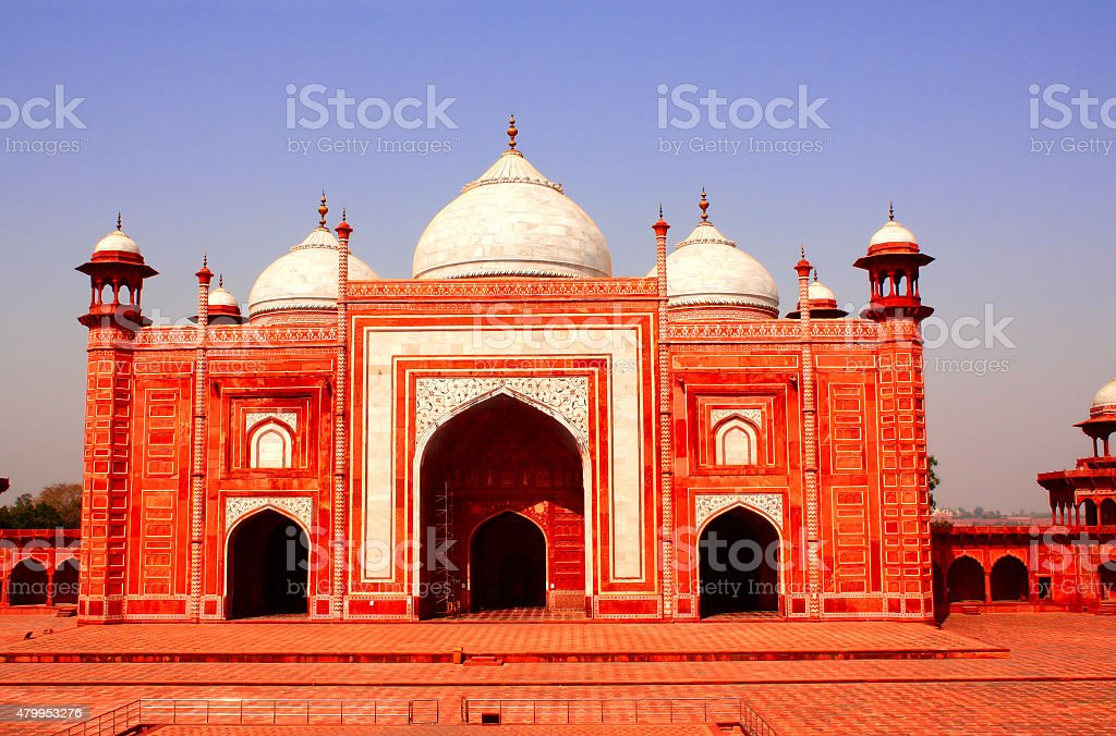 Masjid mosque near Taj Mahal mausoleum, Agra, India stock photo