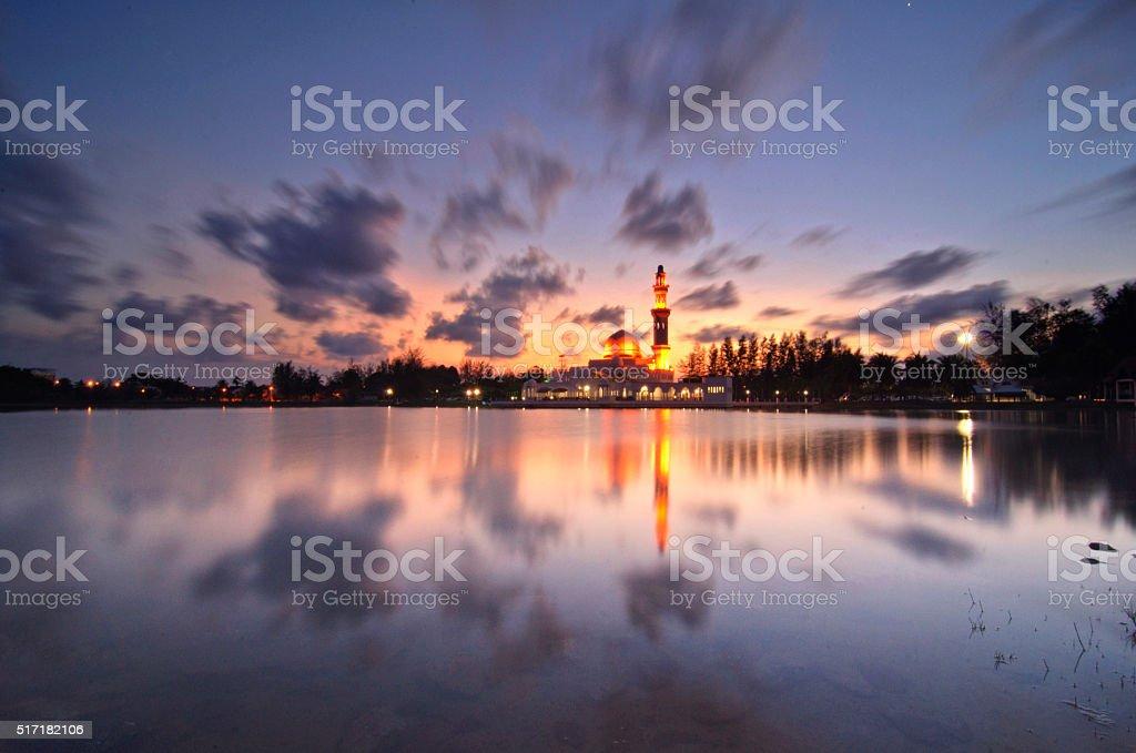 Masjid Tengku Tengah Zaharah at Sunset stock photo