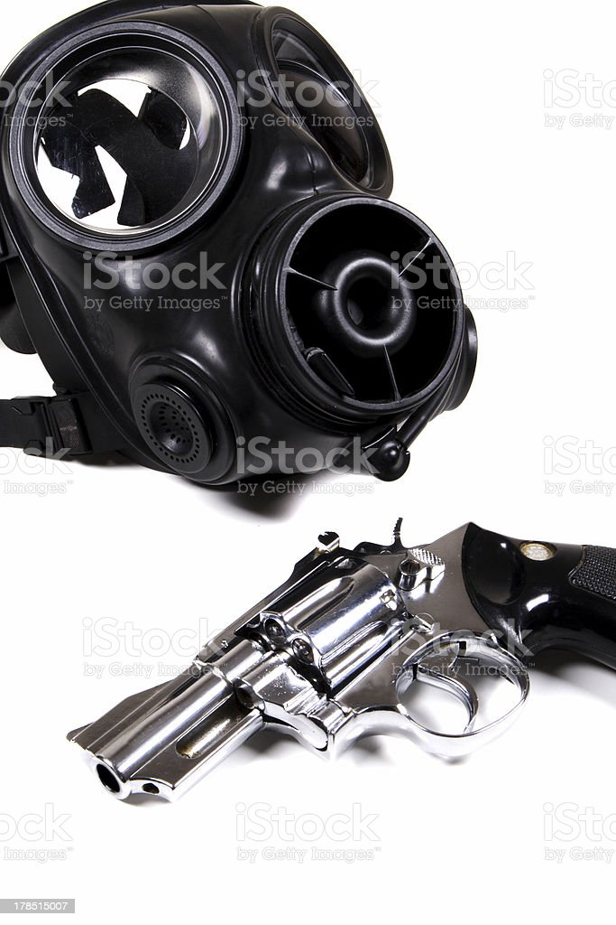 mask and gun stock photo