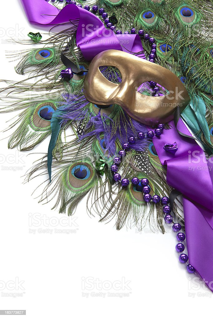 Mask and Peacock Feathers stock photo