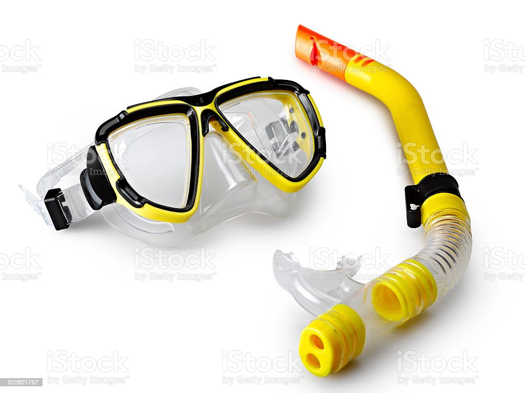 mask and snorkel for scuba diving stock photo
