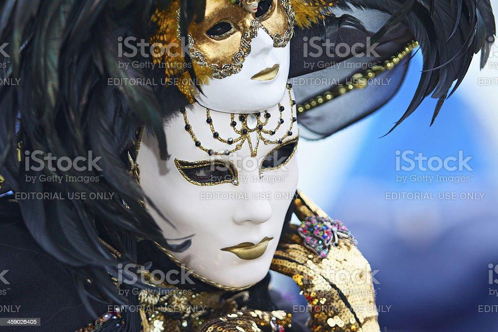 Mask at Venice Carnival 2013 in St. Mark's basin royalty-free stock photo