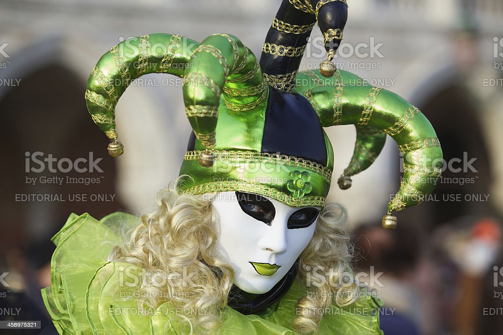 Mask at Venice Carnival 2013 in St. Mark's square royalty-free stock photo