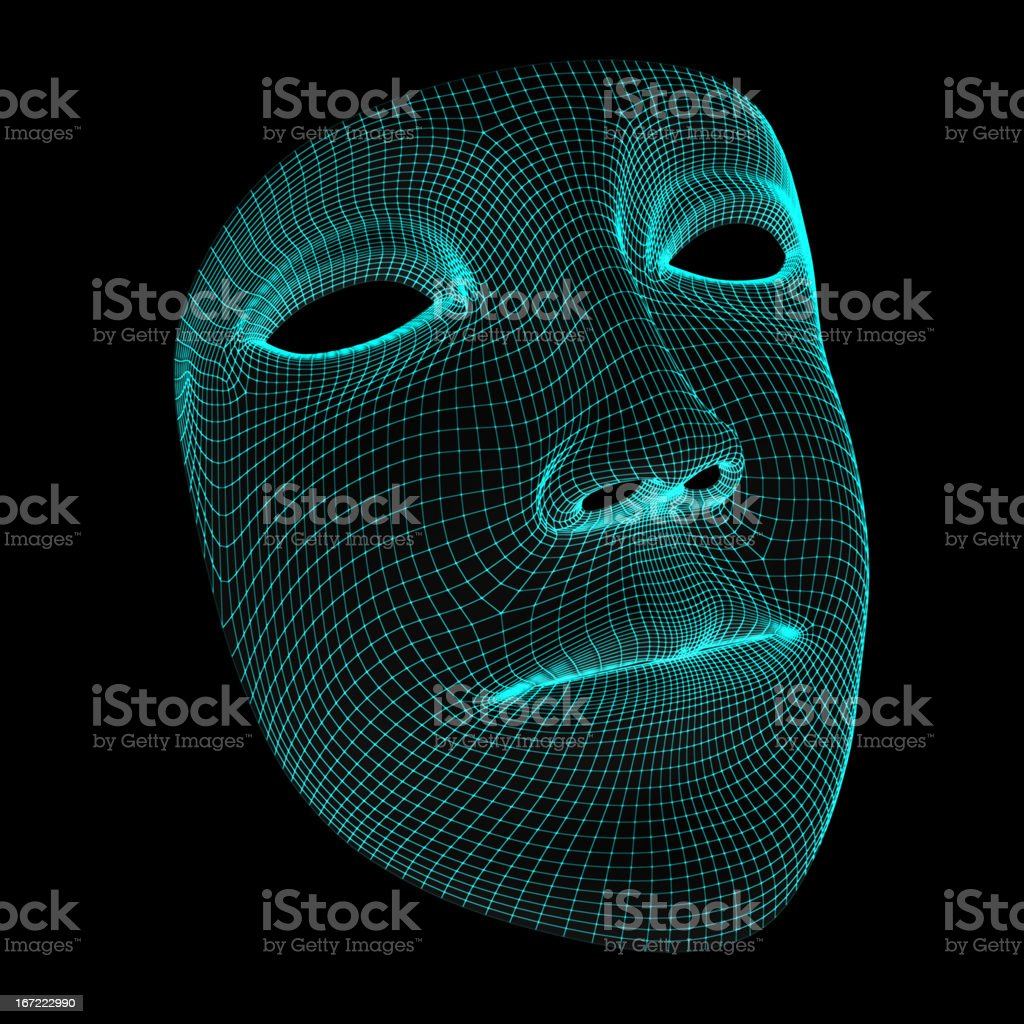 A mask of a normal face that looks digitalized stock photo