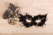 Mask on a wooden background