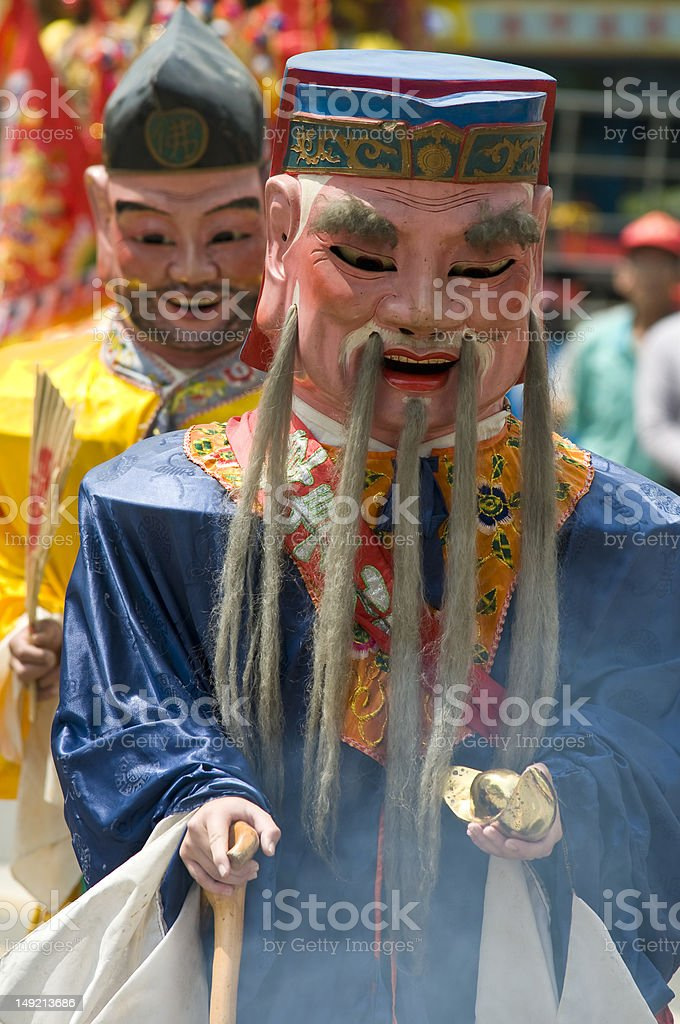 Mask Parade of Folklore Deities in Taiwan stock photo