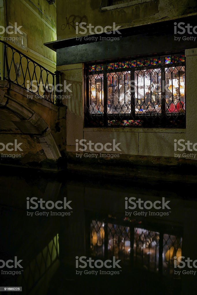 Mask store in Venice at night royalty-free stock photo