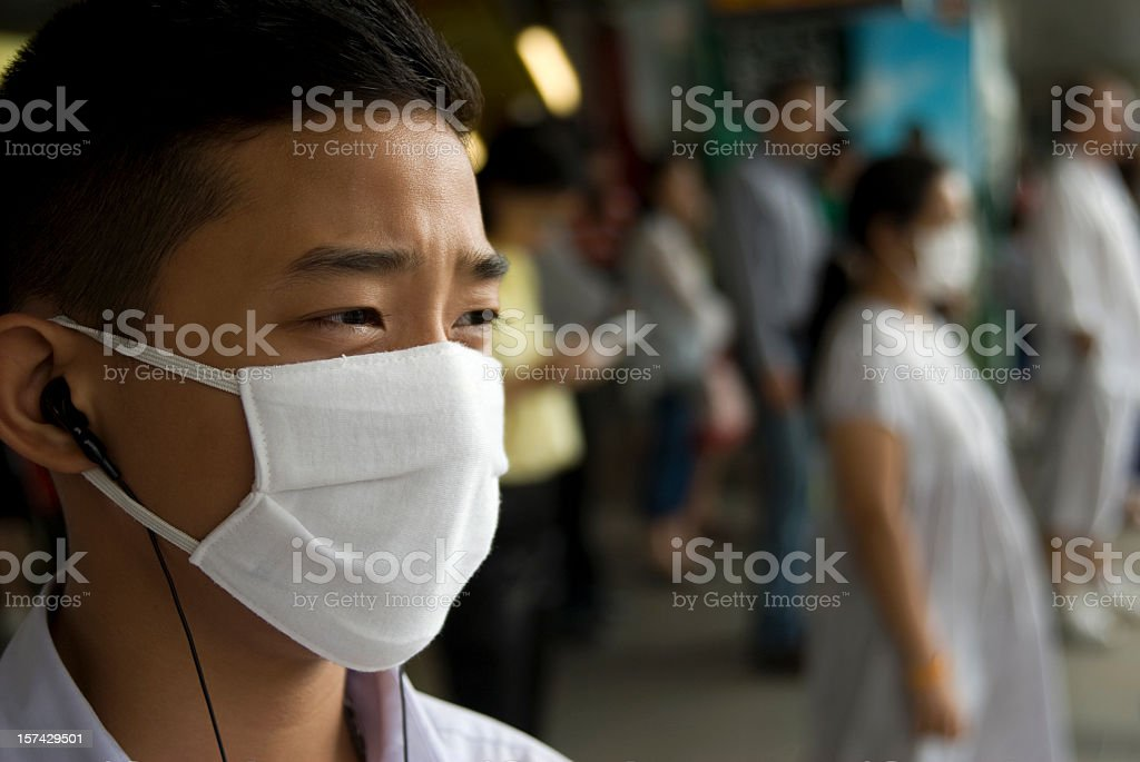 A mask to cover the faces of those affected with swine flu stock photo