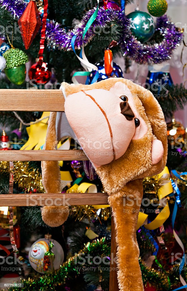mask-cap monkey on a background of the Christmas tree stock photo