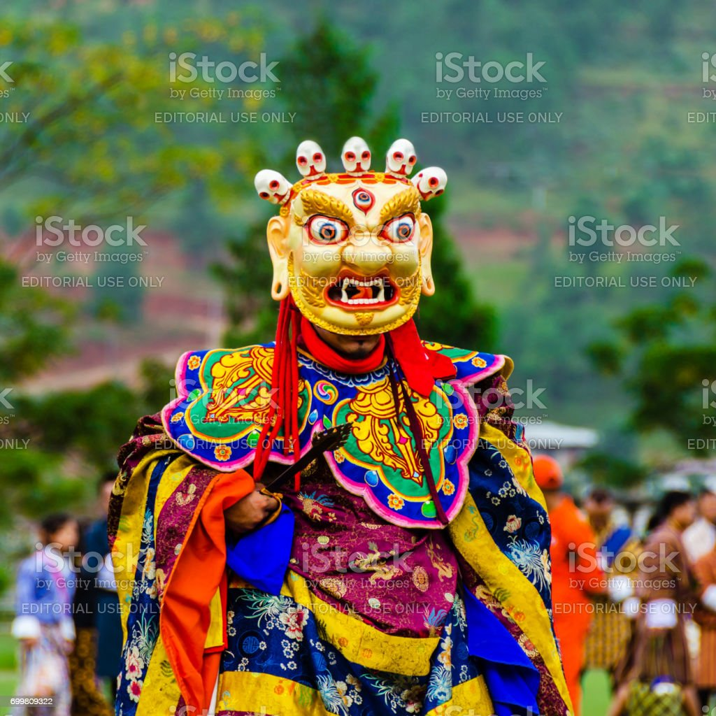 Masked Dancer at the Wangdue Festival in Bhutan stock photo