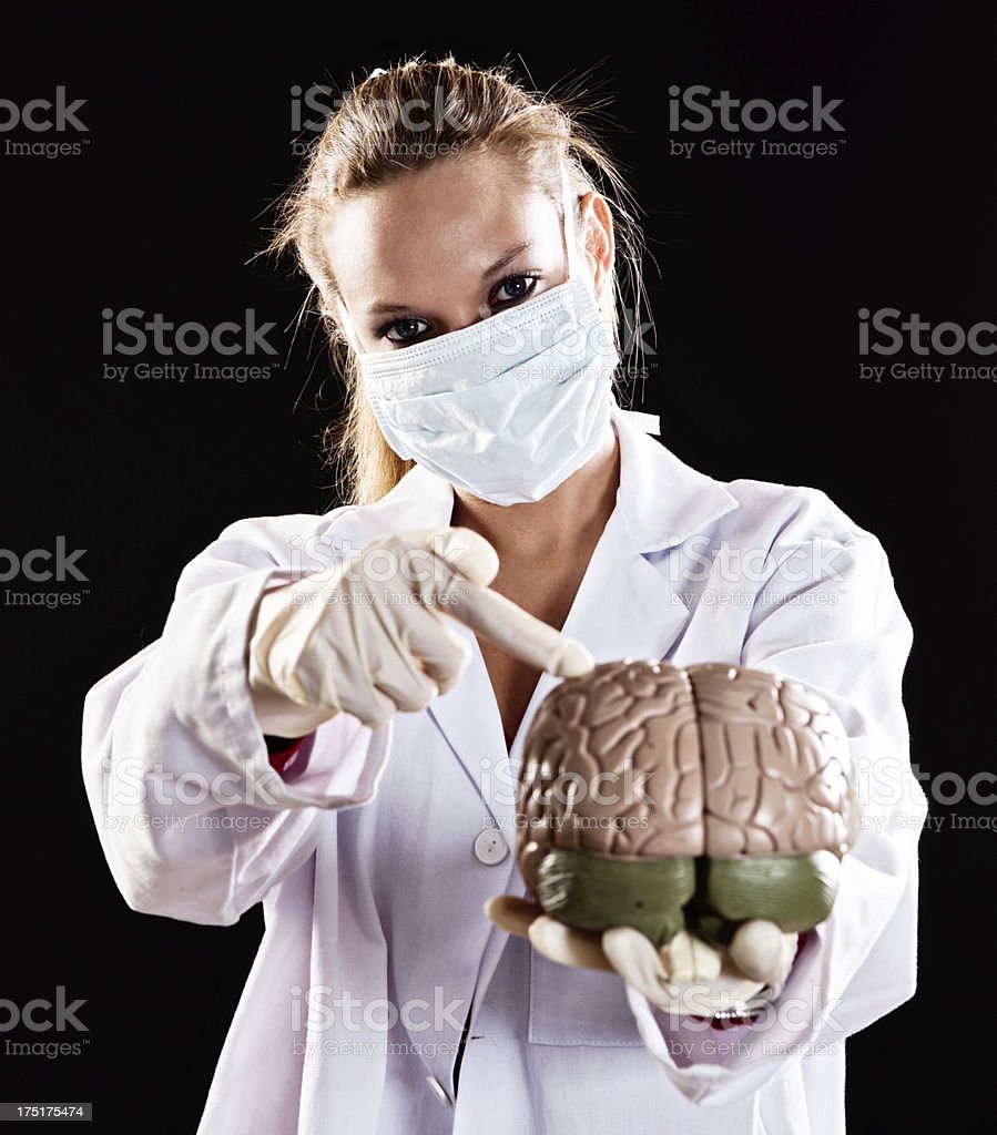Masked female medical professional points to part of model brain royalty-free stock photo