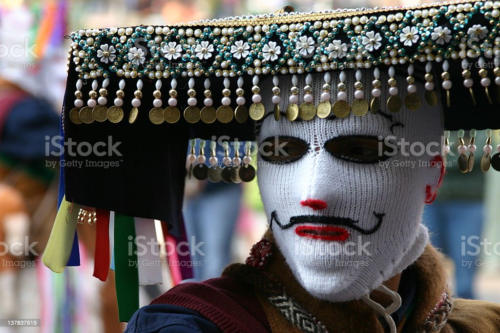 Masked Man in Cusco Peruvian Festival royalty-free stock photo