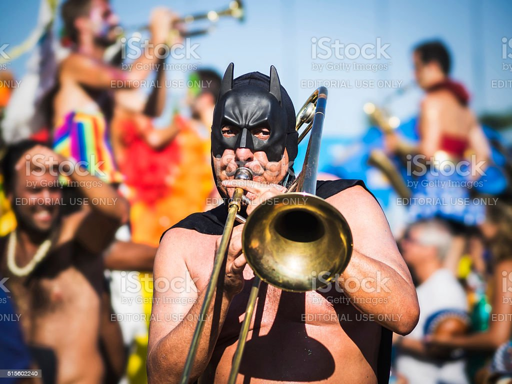 Masked Musician Playing at Carnaval Parade, Rio de Janeiro, Brazil stock photo