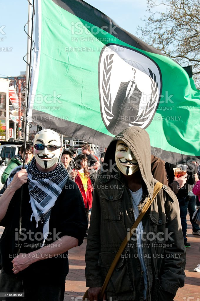 Masked Protestors royalty-free stock photo