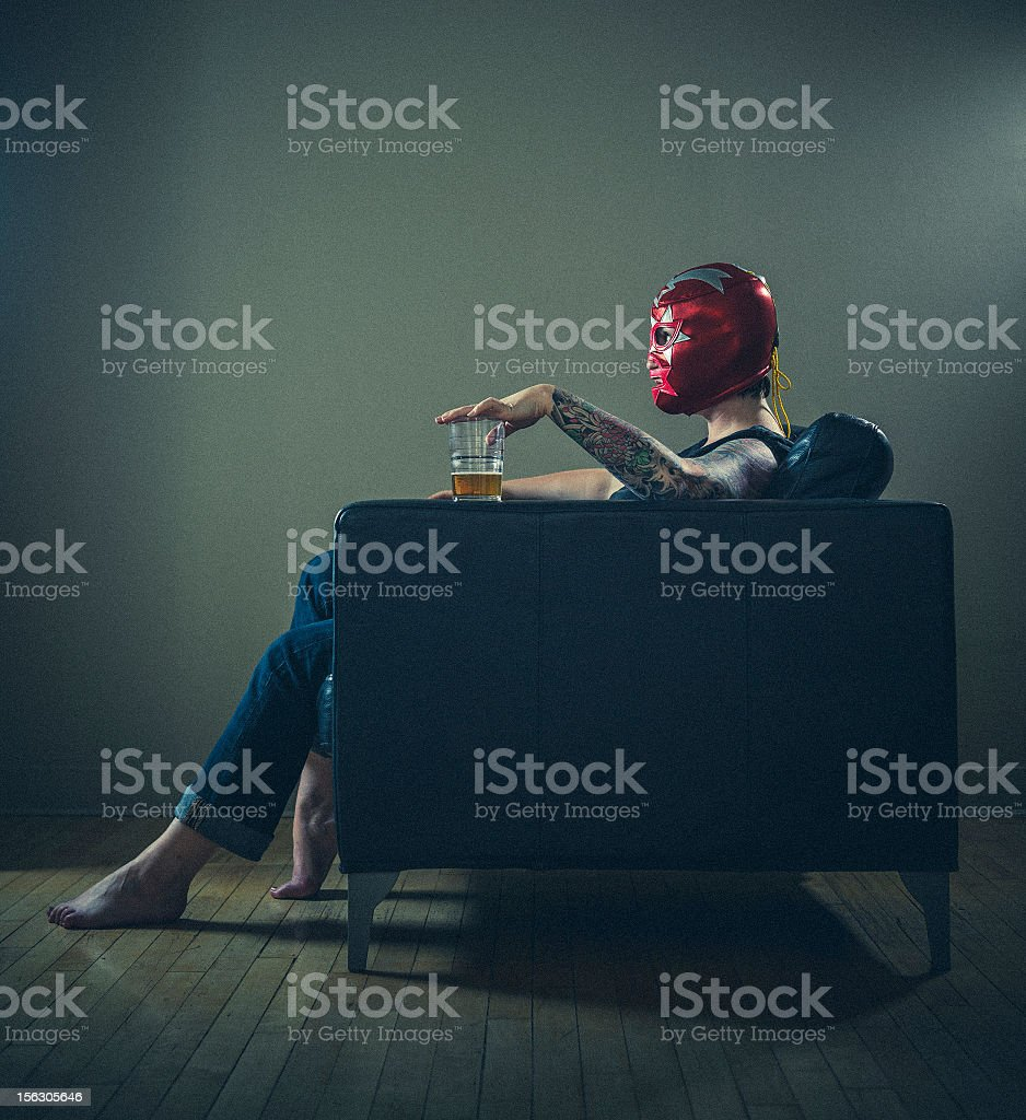 masked woman with tattoos royalty-free stock photo