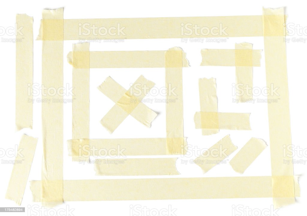 Masking tape design on a plain white paper stock photo