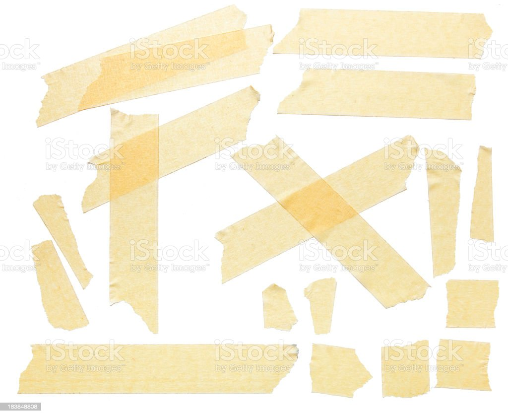 Masking tape pieces crossing each other stock photo
