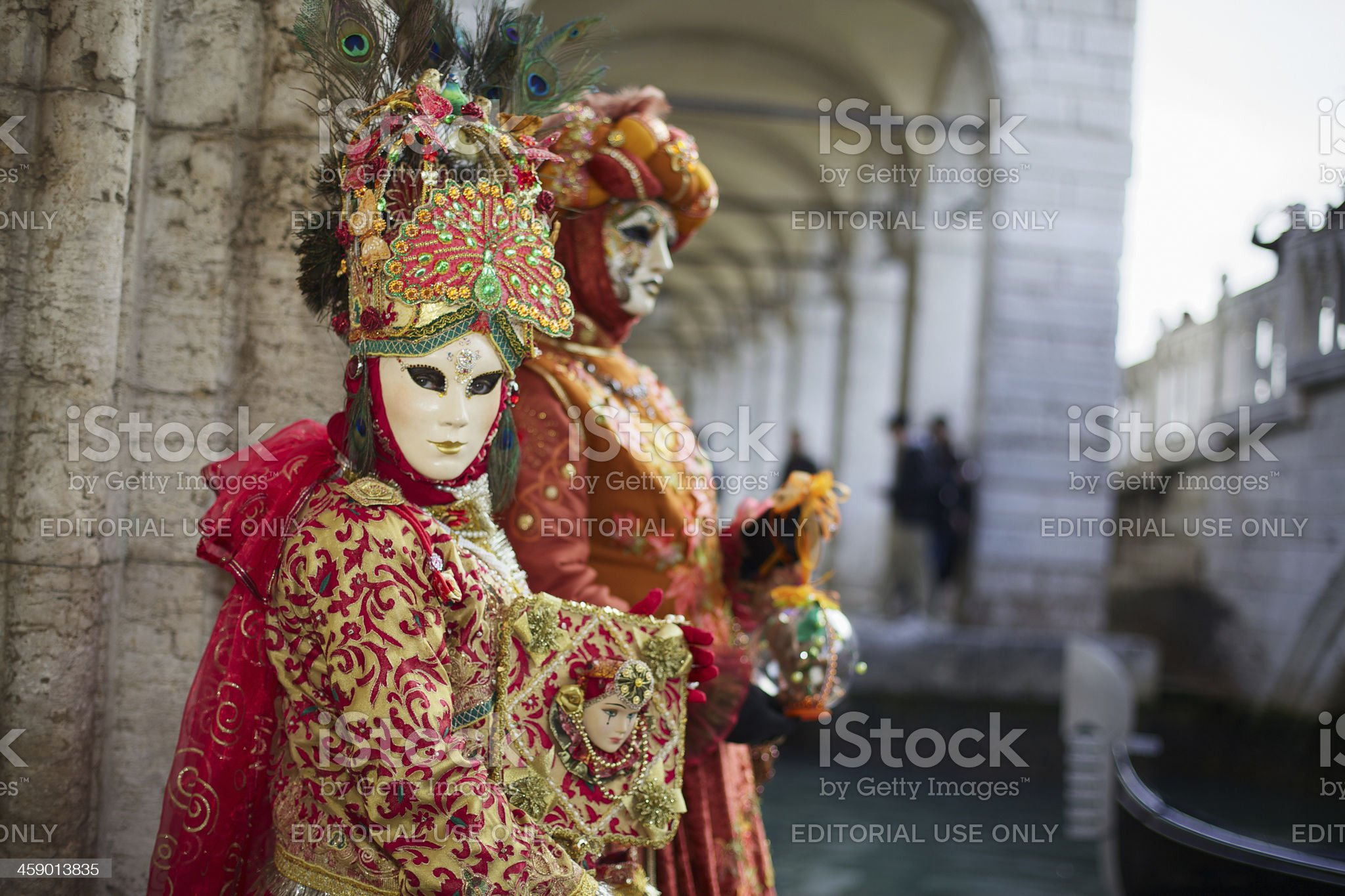 Masks at Venice Carnival 2013 in St. Mark's basin royalty-free stock photo